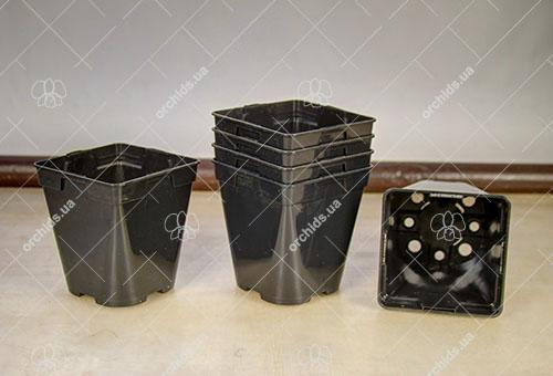 Вазон пластиковый квадратный черный 1 литр, W 11 см, H 12 см