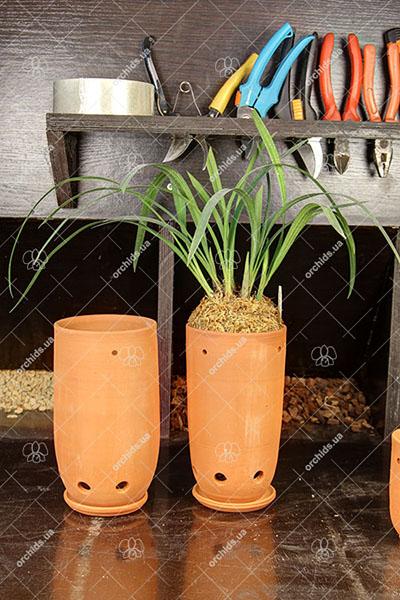 Вазон для орхидей керамический цилиндр, D 10 см, H 20 см