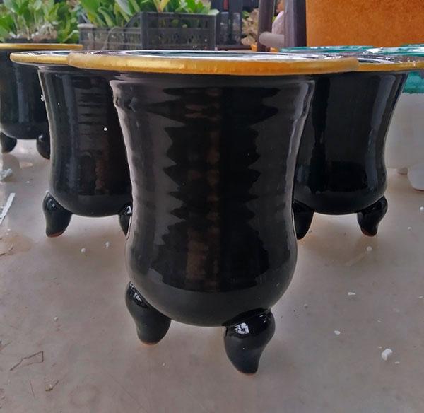 Вазон для орхидей керамический глазурованный #25, D10 H10
