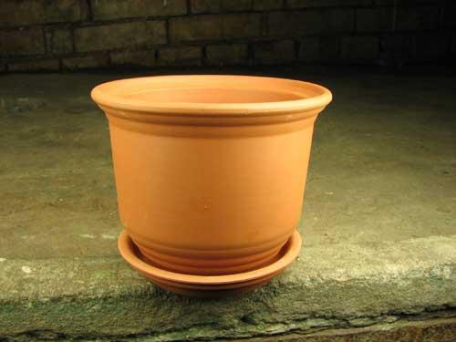 Вазон керамический с блюдцем, D 13 см, H 10 см