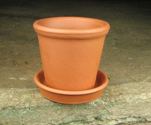 Вазон керамический с блюдцем, D 9 см, H 8 см
